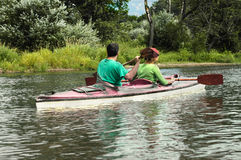 Active people in kayak Royalty Free Stock Image