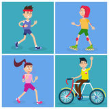 Active People. Man and Woman Runners. Girl on Roller Skates Royalty Free Stock Photos
