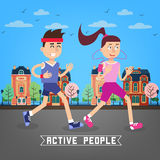 Active People. Man and Woman Runners. Man and Woman Running Stock Photo