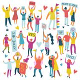 Active People Parade Colored Set stock illustration