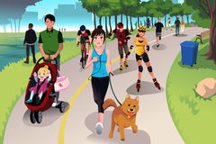 Active people in a park. A vector illustration of people in a park doing activities Stock Photo