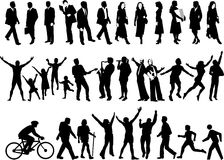 Active people silhouettes Stock Image