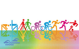Active people silhouettes Royalty Free Stock Image