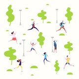 Active people in the spring park, walking and running people vector illustration vector illustration