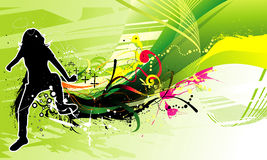Active people vector illustration. Active people  illustration composition over a green color background Stock Image