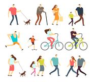 Active people walking, riding bike, running outdoor vector character set. Ride bike and activity lifestyle walking and sport jogging illustration Royalty Free Stock Images