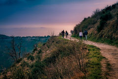 Active people walking together relaxing recreation time. Royalty Free Stock Photo