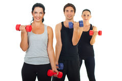 Active people working with barbell Royalty Free Stock Photo