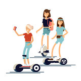 Active peoples fun with electric scooter Royalty Free Stock Image