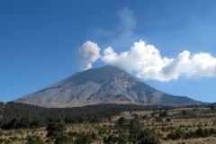 Active Popocatepetl volcano in Mexico royalty free stock photography