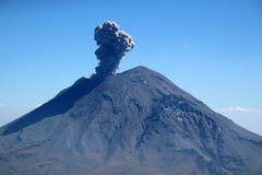 Active Popocatepetl volcano in Mexico. One of the highest mountains in the country Royalty Free Stock Image