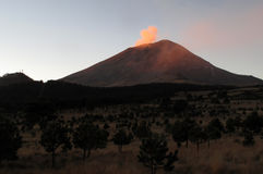 Active Popocatepetl volcano in Mexico. One of the highest mountains in the country Royalty Free Stock Images