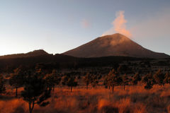 Active Popocatepetl volcano in Mexico. One of the highest mountains in the country Royalty Free Stock Photos