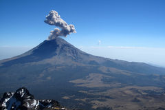 Active Popocatepetl volcano in Mexico. One of the highest mountains in the country Royalty Free Stock Photo