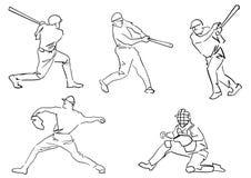 Set of baseball players: pitcher, batter, catcher. stock illustration