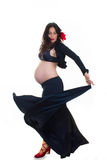 Active pregnant woman doing spanish dancing Stock Photography
