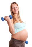Active pregnant woman on white background Stock Photos