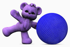 Active purple teddy bear Royalty Free Stock Photography