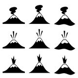 Active que entra en erupción pictogramas del volcán Fotos de archivo