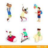 Active recreation amusement park fun sports teenag. Ers children flat 3d isometric web infographic concept vector icon set. Jumping tennis electric car Stock Photography