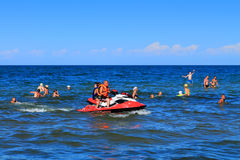 Active recreation - driving on a hydrocycle on the Baltic Sea Royalty Free Stock Image