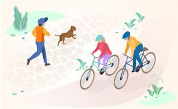 Active Recreation and Rest Outdoors Vector Concept royalty free illustration