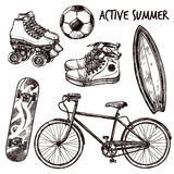 Active Recreation Sketch Set Royalty Free Stock Photos