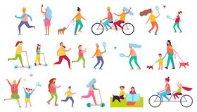 Active Relaxation Vector Illustration on White. Active relaxation of different people, spending time with useful purpose which is staying healthy vector Royalty Free Stock Images