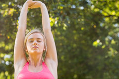 Active relaxed blonde doing yoga exercise Stock Photography
