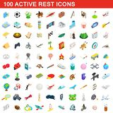 100 active rest icons set, isometric 3d style. 100 active rest icons set in isometric 3d style for any design illustration vector illustration
