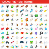 100 active rest icons set, isometric 3d style. 100 active rest icons set in isometric 3d style for any design vector illustration Vector Illustration
