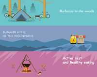 Active rest. Kinds of active recreation and hiking food. Vector illustration Royalty Free Stock Image