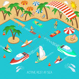 Active rest at sea concept. Active rest at sea and beach vacation with umbrellas and chaise lounges isometric concept vector illustration Royalty Free Stock Image