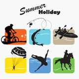 Active rest, set icon, vector illustration. Active rest, summer holiday, set icon, fishing, bicycler, canoe, boating, parachutist, swimmer, equestrian sport royalty free illustration