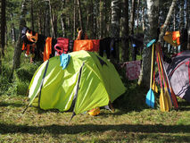 Active rest tent in the woods tourism Royalty Free Stock Images