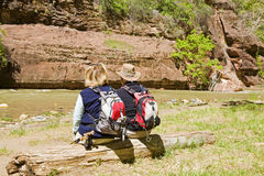 Active retired couple. Enjoying the view of the river Stock Photography