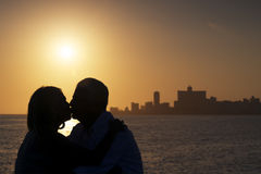 Active retired people, romantic elderly couple in love, kissing Royalty Free Stock Images