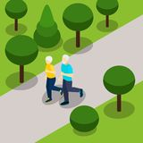 Active Retirement Lifestyle Isometric Banner Stock Images
