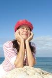Active retirement woman ocean Royalty Free Stock Photo