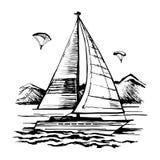 Active sailing and parachuting stock illustration