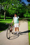 Active senior. Active elderly man enjoys a bike ride Stock Photography