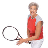 Active Senior. Full isolated studio portrait of a active senior woman Stock Image