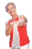 Active Senior. Full isolated studio portrait of a active senior woman stock images