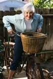 Active Senior. Baby Boomer Grandma ready for a heart-healthy ride Stock Photography