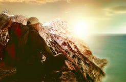 Active senior backpacker Stock Photo