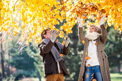 Active senior couple in autumn park throwing leaves. Active senior couple on a walk in autumn park throwing leaves Stock Images