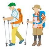 Active Senior Couple ,Climbing Fashion. Active Senior Couple who wearing Climbing Fashion, . Vector illustration Stock Images
