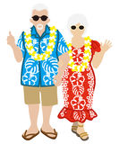 Active Senior Couple, Hawaiian Tourist Isolated Royalty Free Stock Photos