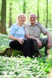 Active senior couple hiking in the forest Stock Images