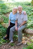 Active senior couple hiking in the forest Stock Photo